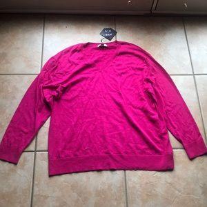 3/$30 NWT Ava & Viv Pink Magenta V-neck Sweater 2X